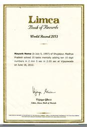Ghi danh vào sách Kỷ lục Thế giới LIMCA 2013