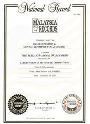 Ghi danh trong sách kỷ lục Malaysia lần 1
