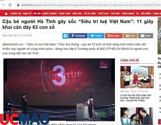 """Báo baohatinh.vn - Cậu bé người Hà Tĩnh gây sốc """"Siêu trí tuệ Việt Nam"""": 11 giây khai căn dãy 63 con số"""