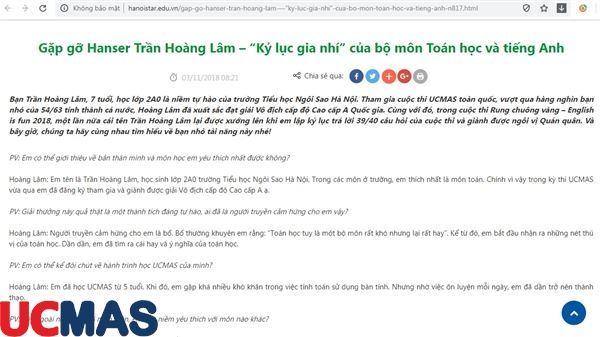 """Báo hanoistar.edu.vn - Gặp gỡ Hanser Trần Hoàng Lâm – """"Kỷ lục gia nhí"""" của bộ môn Toán học và tiếng Anh"""