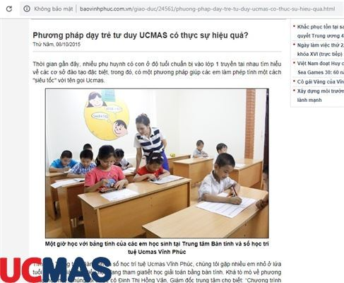 Báo baovinhphuc.com.vn - Phương pháp dạy trẻ tư duy UCMAS có thực sự hiệu quả?
