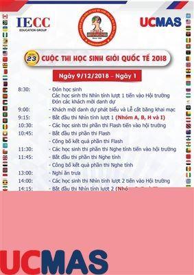 Lịch trình thi cuộc thi Học sinh giỏi Quốc tế UCMAS 2018