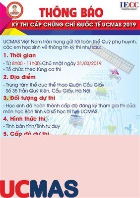 Thông báo về Cuộc thi cấp chứng chỉ Quốc tế UCMAS 2019