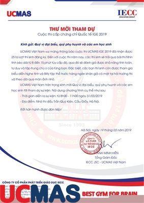 Thư mời tham gia Cuộc thi cấp chứng chỉ Quốc tế UCMAS - IGE 2019