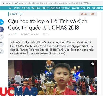 Báo baomoi.com - Cậu học trò lớp 4 Hà Tĩnh vô địch Cuộc thi quốc tế UCMAS 2018