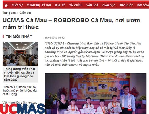 Báo baocamau.com.vn - UCMAS Cà Mau – ROBOROBO Cà Mau, nơi ươm mầm tri thức