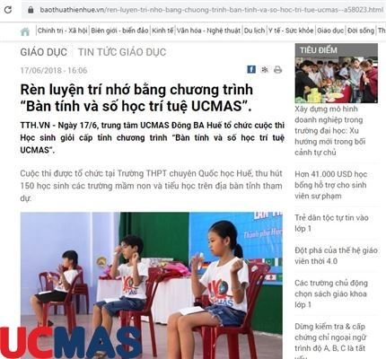 """Báo baothuathienhue.vn - Rèn luyện trí nhớ bằng chương trình """"Bàn tính và số học trí tuệ UCMAS""""."""