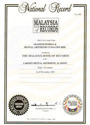 Ghi danh trong sách kỷ lục Malaysia lần 2