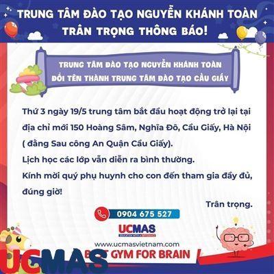 Thông báo chuyển địa điểm UCMAS Nguyễn Khánh Toàn
