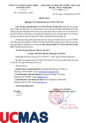 Thông báo gia hạn thời gian đăng ký và đặt cọc tour tham dự Cuộc Thi HSG Quốc Tế UCMAS 2019