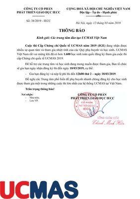 Thông báo gia hạn cuộc thi cấp chứng chỉ Quốc Tế UCMAS 2019