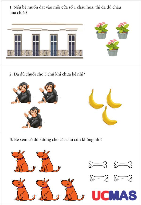 bài tập toán tư duy cho trẻ 4 tuổi: so sánh thiếu đủ