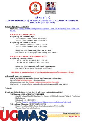 Những thông tin lưu ý của đoàn UCMAS