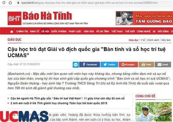 Báo baohatinh.com.vn - Cậu học trò đạt Giải vô địch quốc gia Bàn tính và số học trí tuệ UCMAS