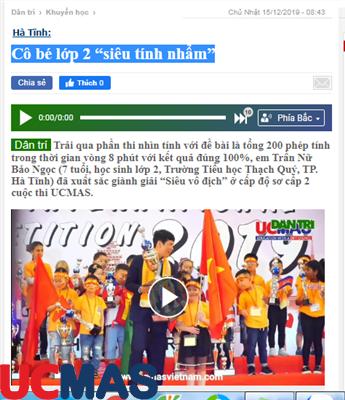 """Báo dantri.com.vn - Cô bé lớp 2 """"siêu tính nhẩm"""""""